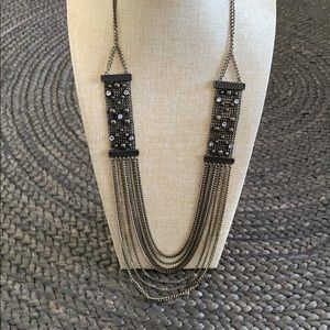 Long brass chain necklace with sequins